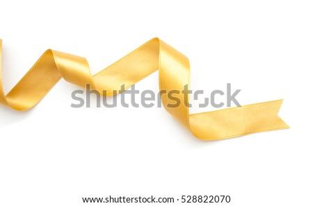 golden ribbon border isolated on white background