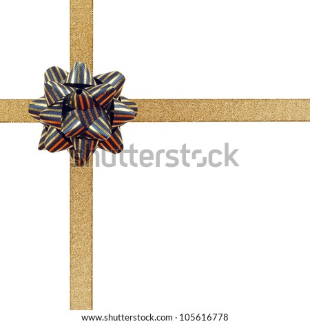 golden ribbon bow gift present isolated on white