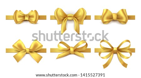 Golden ribbon bow. Holiday gift decoration, valentine present tape knot, shiny sale ribbons collection.  realistic gold bows