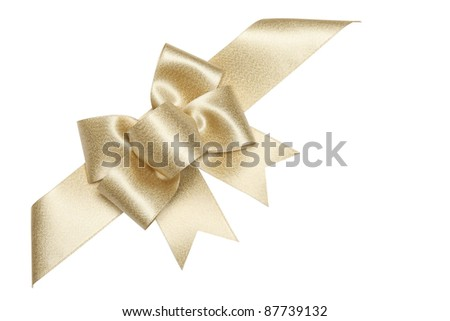 Golden ribbon bow isolated on white.