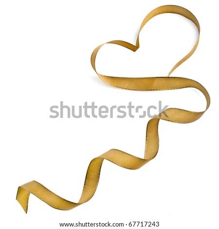 Golden ribbon heart isolated on white background