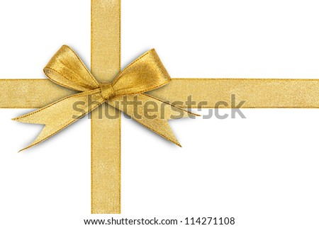 golden ribbon isolated on white - stock photo
