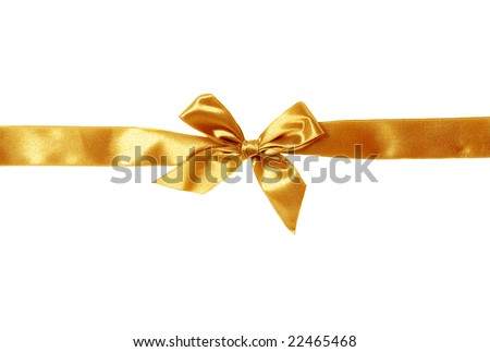 golden ribbon isolated on white
