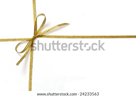 Golden ribbon with bow isolated