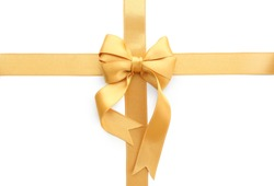 Golden ribbons with bow on white background
