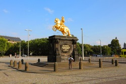 Golden Rider (Goldener Reiter) Monument of Augustus the Strong (August des Starken) - Saxon and Polish King, Dresden, Saxony (Sachsen), Germany (Deutschland)