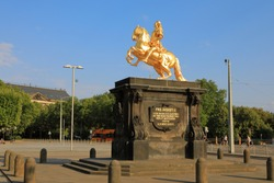 Golden Rider (Goldener Reiter) - The monument of Augustus the Strong (August des Starken) - Saxon and Polish King, Dresden, Saxony (Sachsen), Germany (Deutschland)