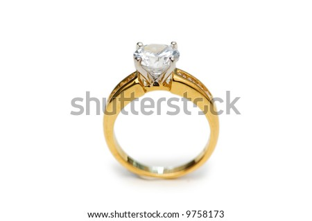 Golden ring with diamond isolated on the white #9758173