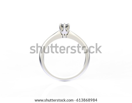 Golden ring with Diamonds. Jewelry background. Fashion luxury accessories. 3D illustration #613868984