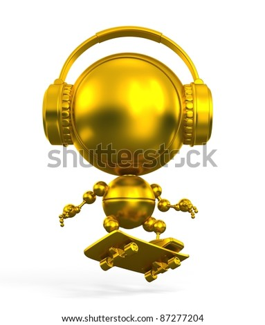Golden robot skateboarder makes feints in headphones
