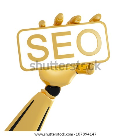 Golden robotic hand hold the plate with word SEO
