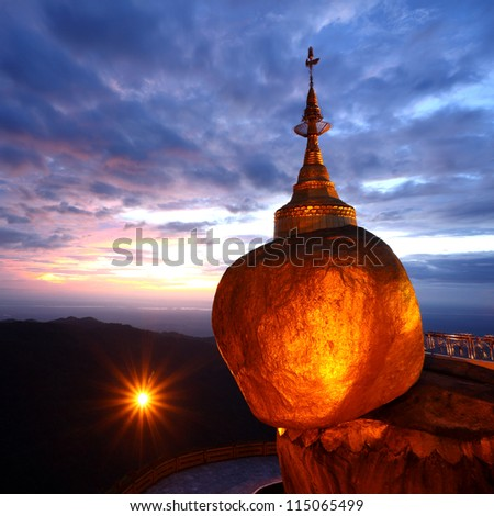 Golden rock is beautiful in the twilight , Kyaiktiyo Pagoda in Yangon, Myanmar