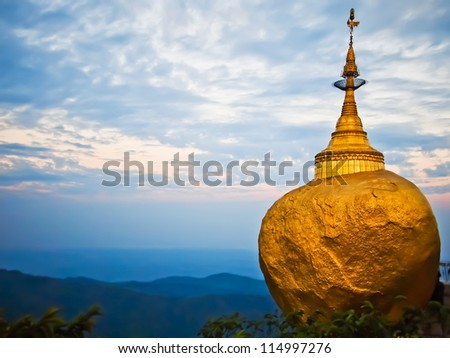 Golden rock, Kyaikhtiyo pagoda, Myanmar.They are public domain or treasure of Buddhism, no restrict in copy or use.