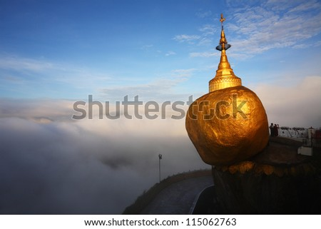Golden rock mist in the morning, Kyaiktiyo Pagoda in Yangon, Myanmar