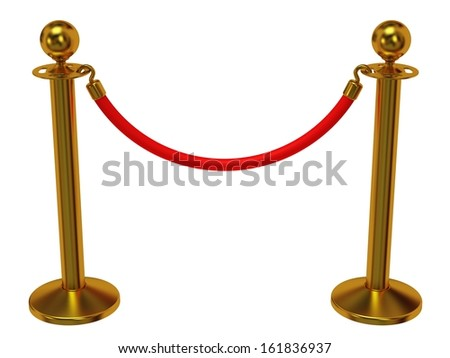 Golden rope barrier - 3d render. Fence with red rope isolated on white. Luxury, VIP concept