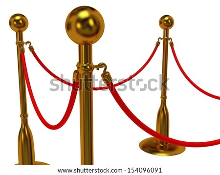 Golden rope barrier over white - 3d render