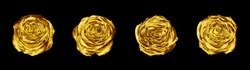 Golden rose flowers set black background isolated close up, four gold roses, shiny yellow metal flower heads, decorative design element, floral pattern, beautiful vintage decoration, retro style decor