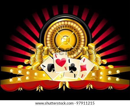 golden roulette wheel with coins and playing cards.