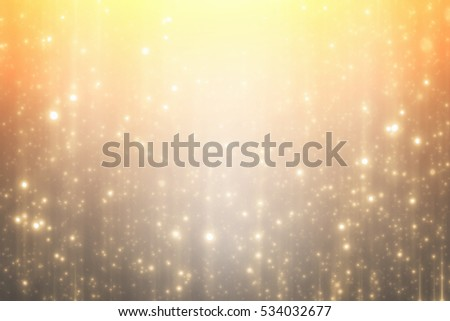 Golden round bokeh or glitter lights festive gold background. Christmas abstract template #534032677