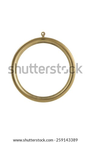 golden, round metallic picture frame, isolated on white