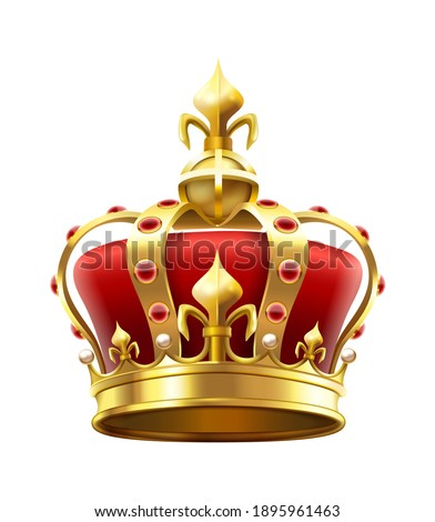 Golden royal crown with jewels. Heraldic elements, monarchic symbol for king. Monarchy accessory with red stones. Royalty luxury element for coronation isolated on white  illustration Сток-фото ©