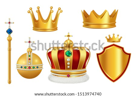 Golden royal symbols. Crown with jewels for knight monarch antique trumpet medieval headgear realistic