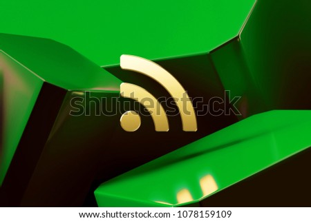 Golden Rss Feed Icon Around Green Glossy Boxes. 3D Illustration of Fine Golden Blog, Feed, News, Rss Icons on the Green Abstract Background.