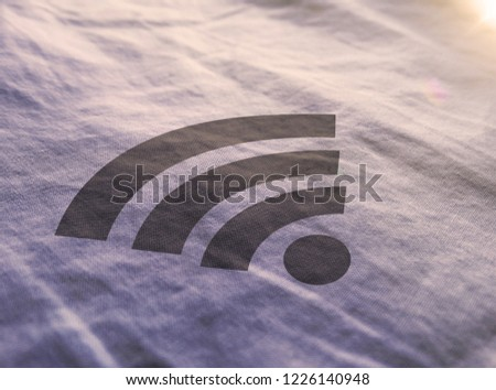 Golden  RSS Feed Icon 3D Illustration Symbol Write On The Fabric. RSS Feed Icon On The Fabric. 3D Rendering.