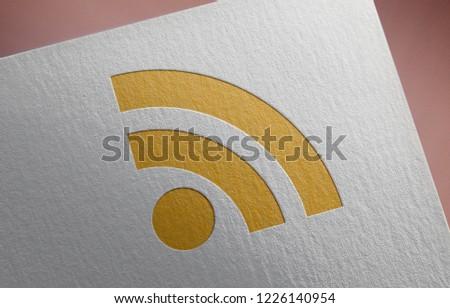 Golden RSS Feed Icon 3D Illustration Symbol Write On The Paper. RSS Feed Icon On The Paper. 3D Rendering.