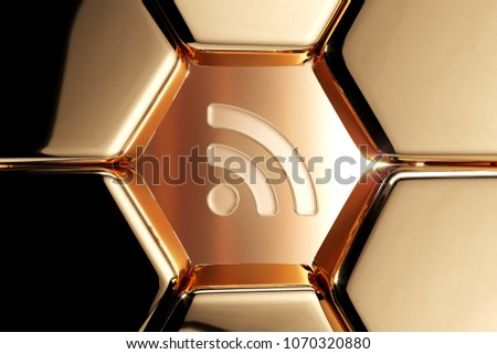 Golden Rss Feed Icon in the Honeycomb. 3D Illustration of Luxury Golden Blog, Feed, News, Rss Icons on Gold Geometric Pattern.
