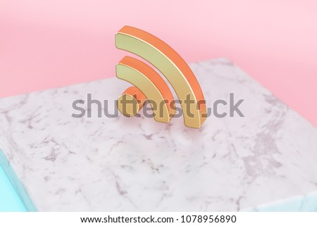 Golden Rss Feed Icon on Pink and Light Blue Color Background . 3D Illustration of Golden Blog, Feed, News, Rss Icon Set on White Marble.