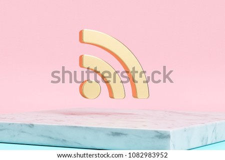 Golden Rss Feed Icon on Pink Background . 3D Illustration of Golden Blog, Feed, News, Rss Icons on Pink Color With White Marble.