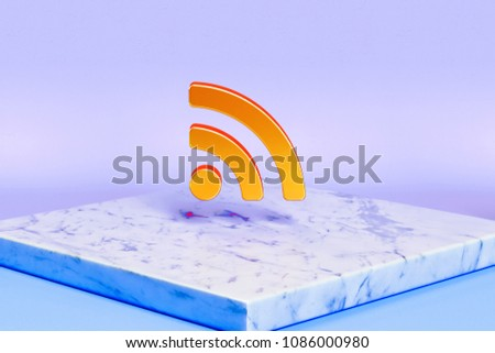 Golden Rss Feed Icon on the Blue Light Background. 3D Illustration of Golden Blog, Feed, News, Rss Icons in the Blue Light With Marble Plate.