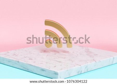 Golden Rss Feed Icon on the Candy Background . 3D Illustration of Golden Blog, Feed, News, Rss Icons on Pink and Blue Color With White Marble.
