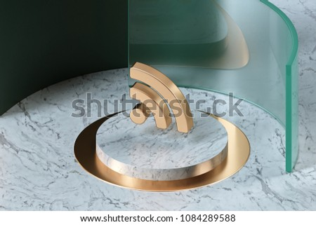 Golden Rss Feed Icon on the Center of White Marble and Green Glass. 3D Illustration of Stylish Golden Blog, Feed, News, Rss Icon Set in the Green Installation.