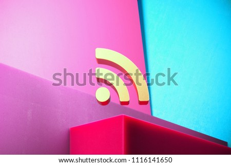 Golden Rss Feed Icon on the Cyan and Magenta Geometric Background. 3D Illustration of Gold Blog, Feed, News, Rss Icon Set With Color Boxes on Magenta Background.