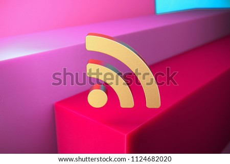 Golden Rss Feed Icon on the Magenta and Cyan Geometric Background. 3D Illustration of Gold Blog, Feed, News, Rss Icon Set With Color Boxes on Magenta Background.