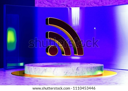 Golden Rss Feed Icon on the Marble and Blue Glass. 3D Illustration of Golden Blog, Feed, News, Rss Icon Set in the Blue Installation.
