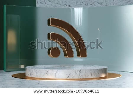 Golden Rss Feed Icon on White Marble and Green Glass. 3D Illustration of Stylish Golden Blog, Feed, News, Rss Icon Set in the Green Installation.