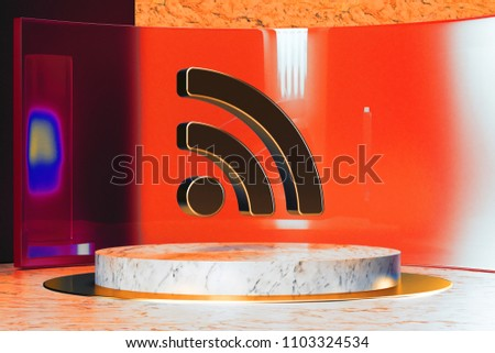 Golden Rss Feed Icon on White Marble and Red Glass. 3D Illustration of Stylish Golden Blog, Feed, News, Rss Icon Set in the Red Installation.