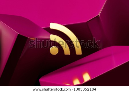 Golden Rss Feed Icon With the Fine Magenta Glossy Boxes. 3D Illustration of the Golden Blog, Feed, News, Rss Icon Set on Magenta Abstract Background.