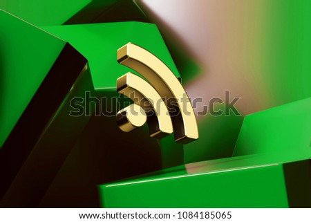 Golden Rss Feed Icon With the Green Glossy Boxes. 3D Illustration of Fine Golden Blog, Feed, News, Rss Icon Set on the Green Geometric Background.