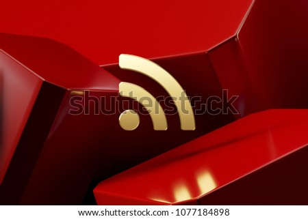 Golden Rss Feed Icon With the Red Luxury Boxes. 3D Illustration of Lux Golden Blog, Feed, News, Rss Icon Set on the Red Geometric Background.