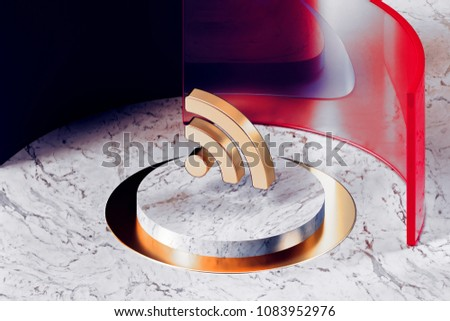 Golden Rss Feed Icon With White Marble and Red Glass. 3D Illustration of Fashion Golden Blog, Feed, News, Rss Icon Set in the Red Installation.