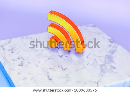 Golden Rss Feed Symbol on Blue Background With Marble. 3D Illustration of Golden Blog, Feed, News, Rss Icon Set in the Blue Light.