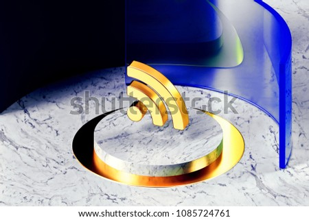 Golden Rss Feed Symbol on the White Marble and Blue Glass Around. 3D Illustration of Golden Blog, Feed, News, Rss Icon Set With Blue Glass.