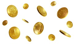 Golden Russian coin. Isolated Russian rubles. Ten rubles.