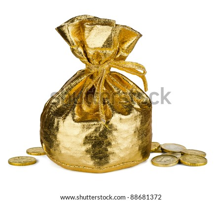 Golden  sack and some money isolated on white