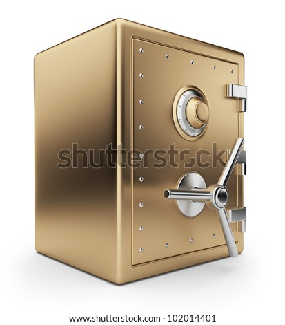 Golden safe box 3D. Bank vault. Isolated on white background