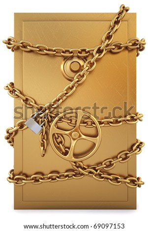 golden Safe clad in gold chain with a lock. isolated on white. with clipping path.